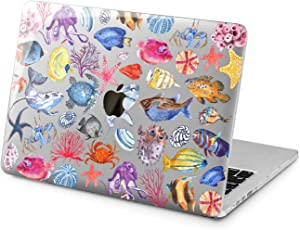 "Cavka Hard Shell Case for Apple MacBook Pro 13"" 2019 15"" 2018 Air 13"" 2020 Retina 2015 Mac 11"" Mac 12"" Laptop Star Design Plastic Print Fish Protective Pattern Cover Sea Cute Turtle Underwater Ocean"