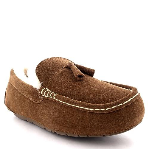 Hombre Mocasines Australiano Suede Piel Carnero Borla Pelaje Pantuflas - Tan - UK10/EU44 - YC0328: Amazon.es: Zapatos y complementos