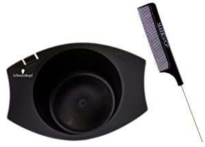 Schwarzköpf Hair Color Mixing Bowl (w/Sleek Steel Rat Tail Comb) Haircolor Dye Coloring Tools (BLACK BOWL with COMB)