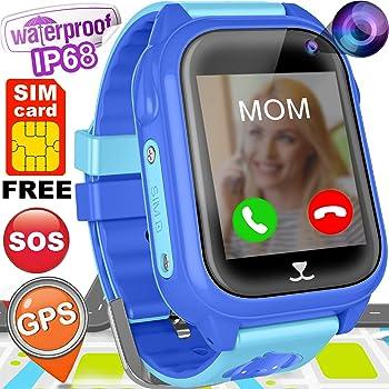 Kids Smart Watch Phone with FREE SIM CARD GPS Tracker Watch for Girls Boys IP68 Waterproof Fitness Smartwatch Pedometer Camera Anti-Lost SOS Alarm Clock ...