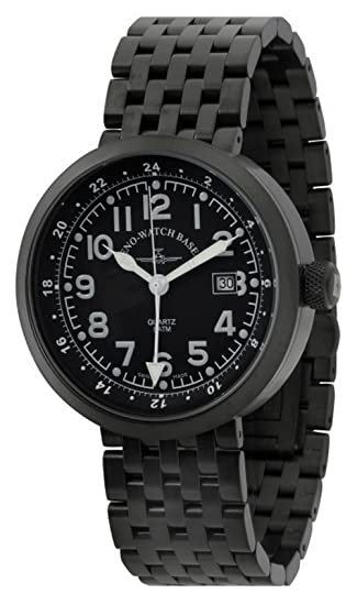 Zeno-Watch Reloj Mujer - Rondo GMT (Dual Time) black&red - B554Q-