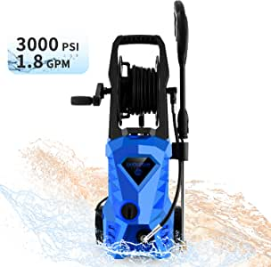 WHOLESUN 3000PSI Electric Pressure Washer 1600W 1.8GPM High Power Washer Machine with Spray Gun & 5 Nozzles Blue