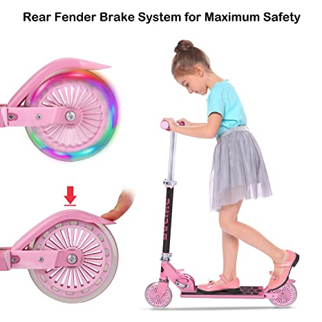 WeSkate Scooter for kids with LED Light Up Wheels, Adjustable Height Kick Scooters for Boys and Girls, Rear Fender Break 5lb Lightweight Folding Kids ...