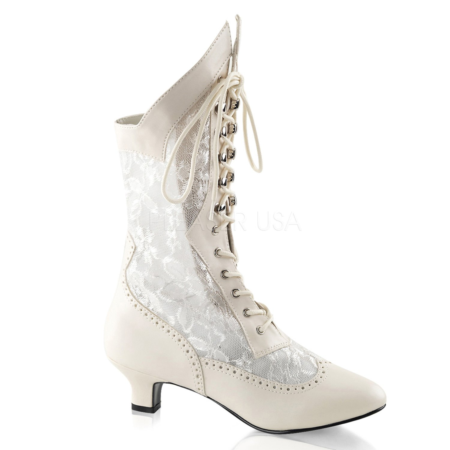 Victorian Lace Insert High Wedding Boots Lace Goth Granny Boots 115 B0042QMDV2 6|Ivory