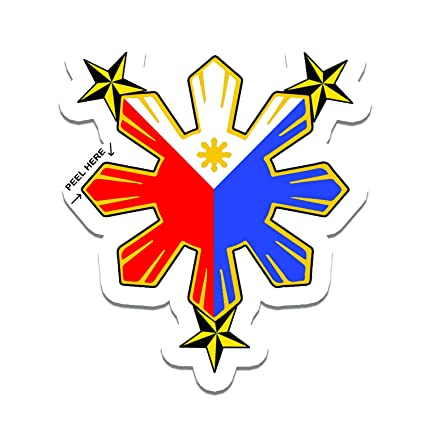 Philippine flag sun with nautical star car decal stickers
