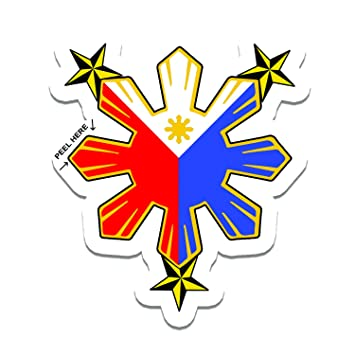 Philippine flag sun with nautical star car decal stickers by sticker stand
