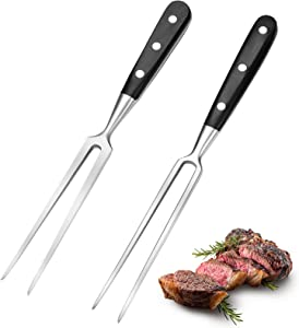 2 Pieces Carving Forks 12 Inch Stainless Steel Meat Fork Barbecue Fork Steak Fork for Kitchen Roast Grilling (Round Handle, Square Handle)