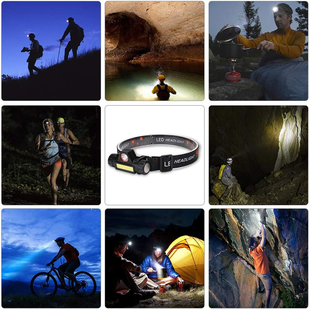 for Outdoor Camping Fishing Emergency USB Rechargeable Lightweight Portable Adjustable 2 Modes Headlamp 2 Pack Running Hiking Head Flashlight Super Bright LED Head Lamp Light Waterproof