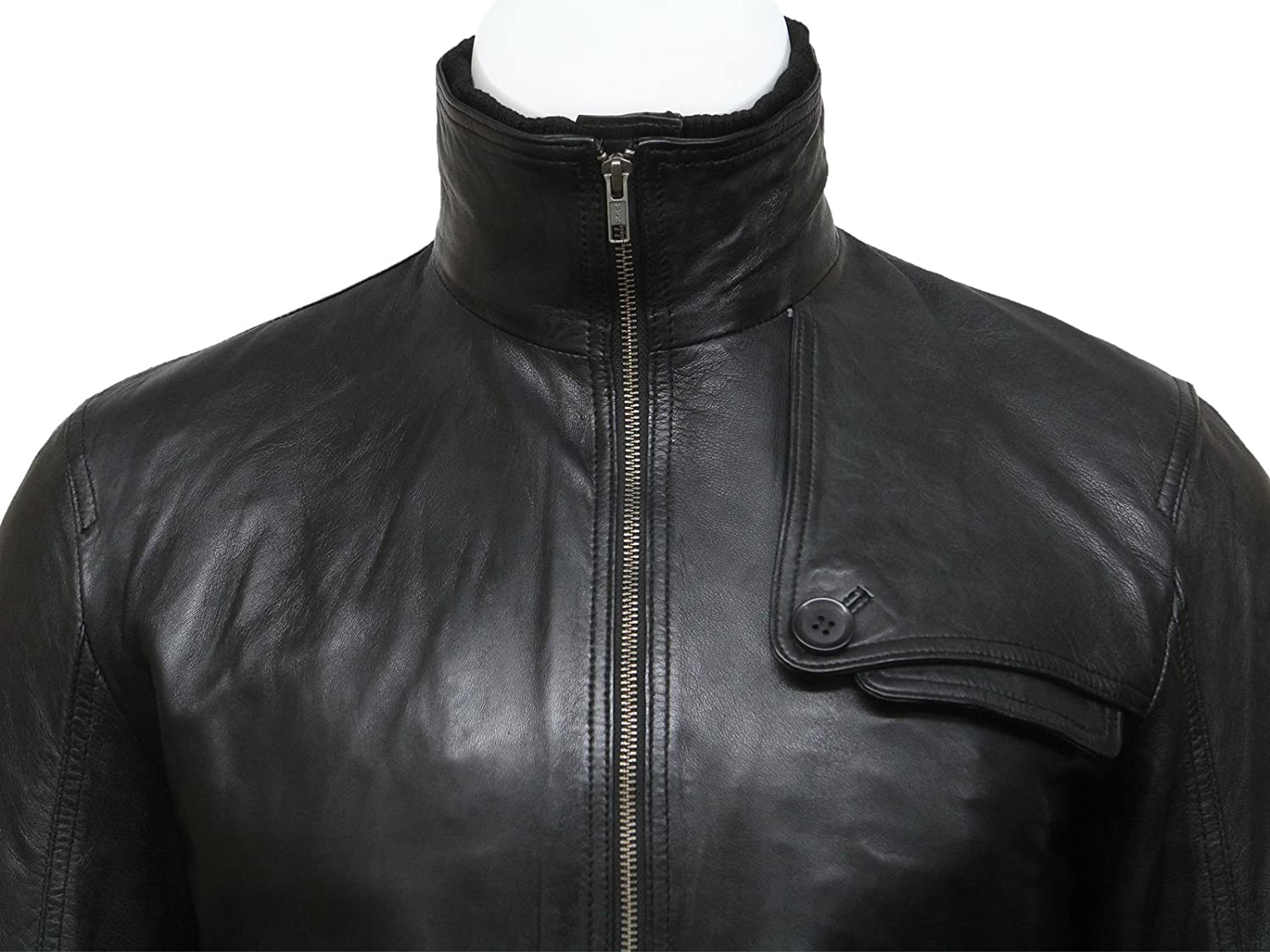 Mens Real Sheepskin Leather Bomber Jacket Black Classic Casual Fitted Jacket S-5XL