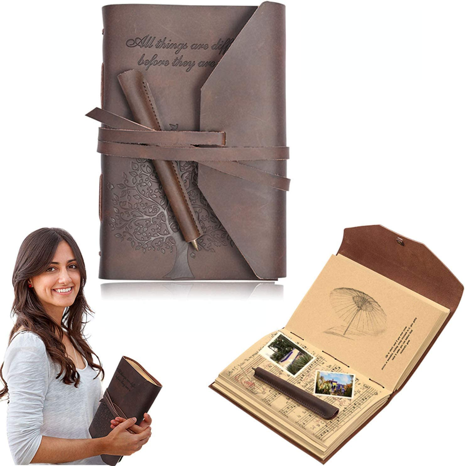 Handmade Leather Journal Retro Vintage Leather Travel Journal Notebook With Pen Craft Papers For Men Women Gift, Perfect For Writing In Travel Working or Office (Brown) (NOTEBOOK+PEN)