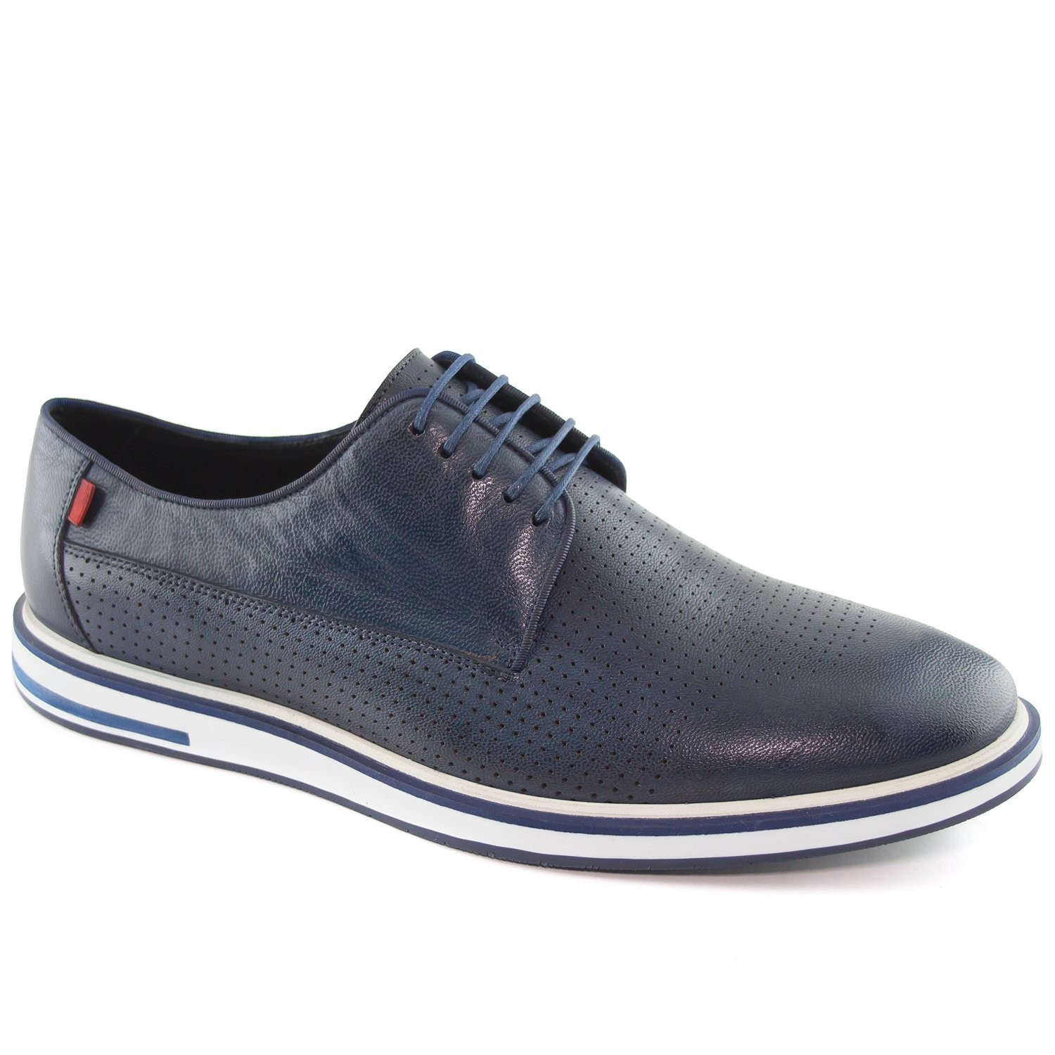 Marc Joseph New York Men's Manhattan Navy Perforrated Leather Oxford Laceup 8.5