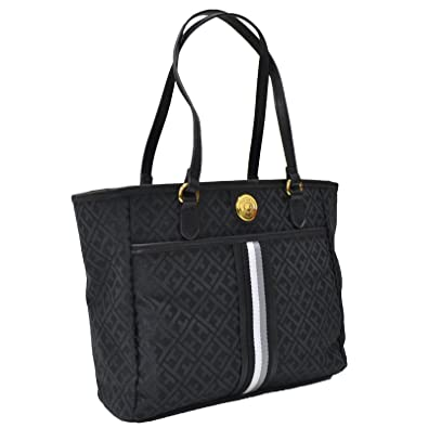 01644a963fc Tommy Hilfiger Tote Purse With Signature Stripe (Black): Handbags ...