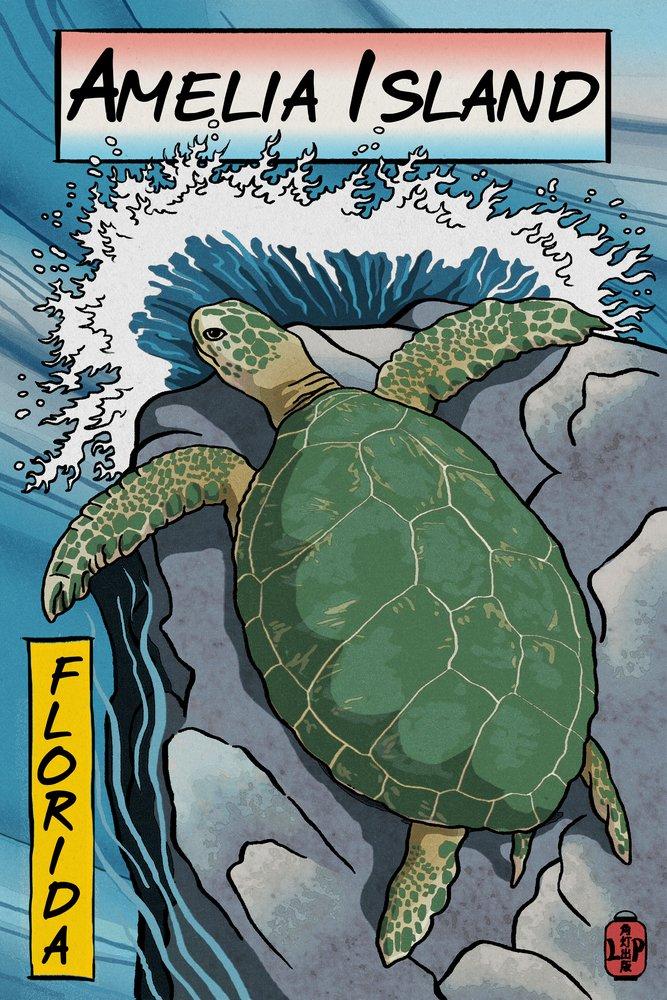 Amelia島、フロリダ州 – Sea Turtle – Woodblock Print 36 x 54 Giclee Print LANT-53138-36x54 36 x 54 Giclee Print  B017E9X4F2