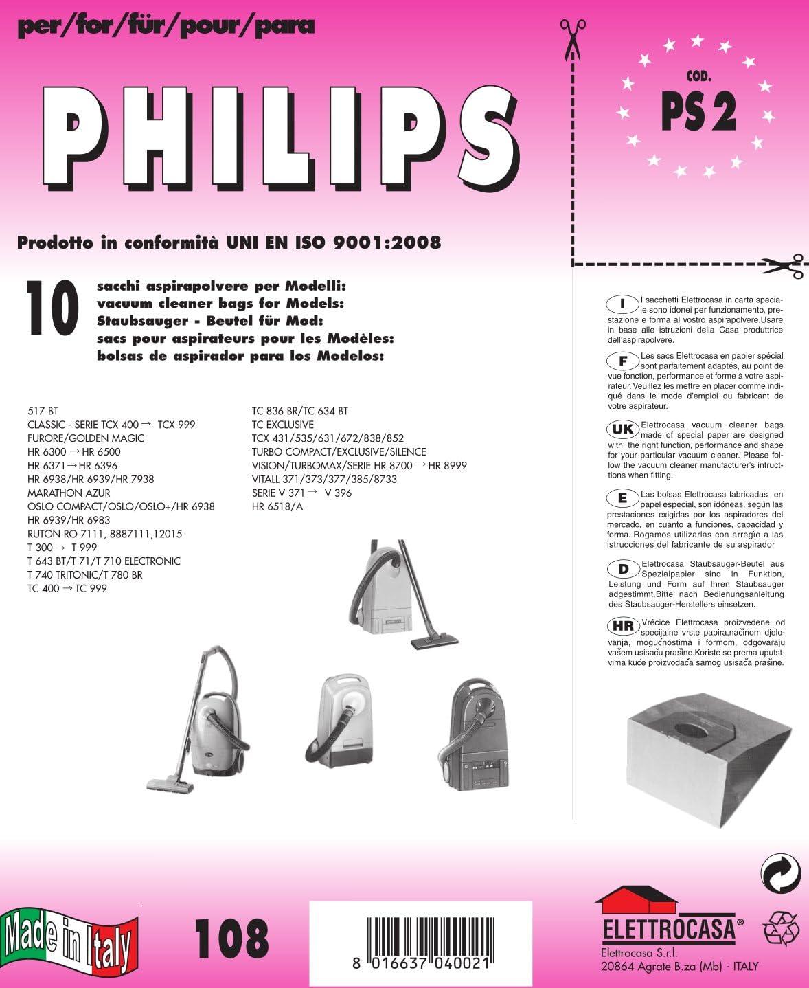 20 Sacchetti Filtro Originale Philips HR 6939 6983 Sacchetto per aspirapolvere 6938 Oslo