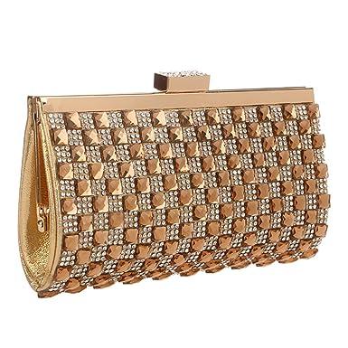Womens Square Shape Crystal Rhinestone Clutches and Handbags Girls Diamond  Purses Evening Bags - Gold 41772b0eda2c2
