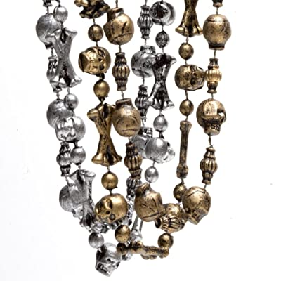 Silver and Gold Pirate Skull Beaded Necklaces (12): Toys & Games