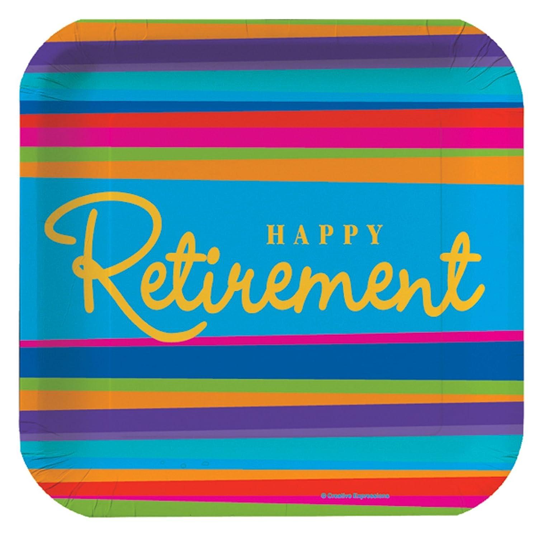 8ct Retirement Stripes Dessert Plates