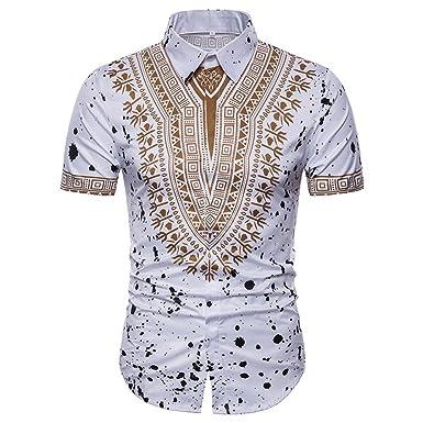 Gusspower Camisetas Moda Hombre Camisas Patchwork Impresión Culturas Chinas Y Occidentales Étnico Estilo O Neck Pull-Over Top Manga Corta Camiseta: ...