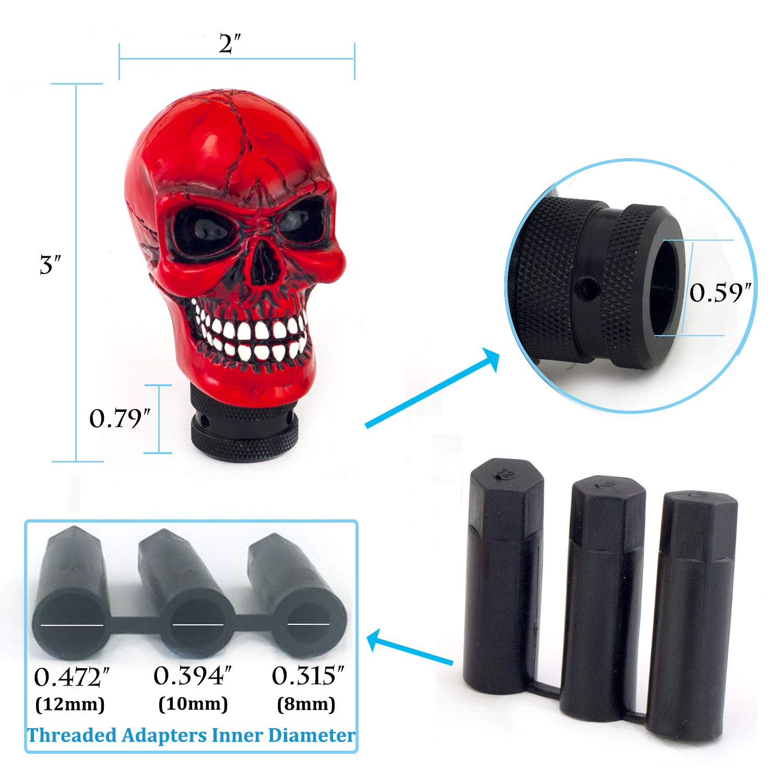 Thruifo Skull MT Car Stick Shifter Small Teeth Devil Head Style Gear Shift Knob Fit Most Manual Automatic Vehicles Green