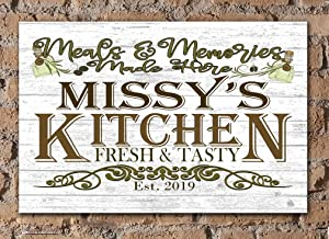 Broad Bay Personalized Kitchen Sign Rustic Farmhouse Wall Art Décor Custom Name Wood Gift - Meals and Memories Served Here
