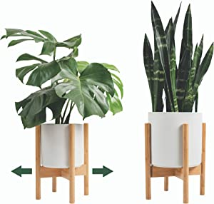 Mid Century Plant Stand Otter & Mint - Adjustable Bamboo Indoor Plant Stand Fits Plant Pots 8-12 Inch - Modern Plant Stand for Indoor Plants - Planter Stand Fits Any Room Including Corners