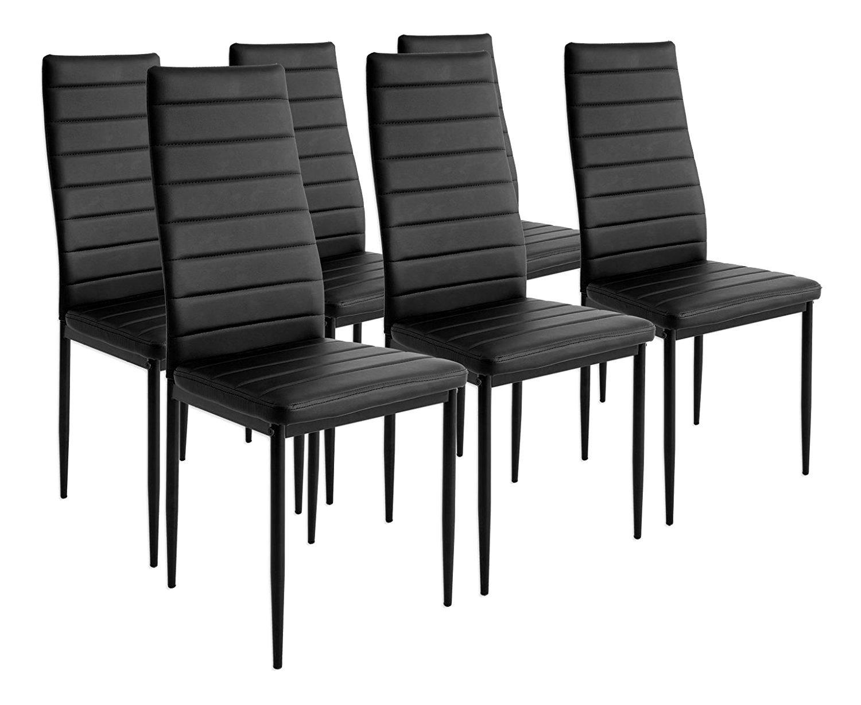 Esstisch Stuhl Set Essgruppe Tischgruppe Esstischgruppe Sitzgruppe Esszimmergarnitur  Schwarz Glas Metall Esstisch 4 Kunstleder Stuhl (Schwarz, Nur 6 Stühle)