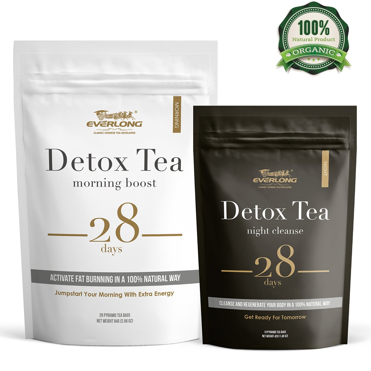 Detox Tea 28 Day Ultimate Teatox - Burn Fat and Boost Your Energy, Colon Cleanse and Flat Belly, Restore Your Body Natural Balance and Accelerate Weight Loss - Easy Brewing and Taste Delicious by EVERLONG