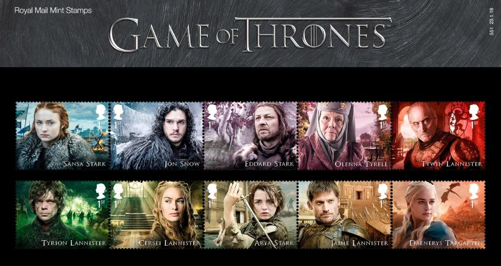 Game of Thrones Character Stamp Set of 10 Royal Mail 2018