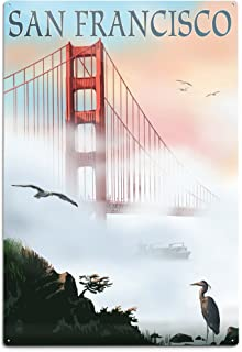 product image for Lantern Press San Francisco, California, Golden Gate Bridge in Fog (12x18 Aluminum Wall Sign, Wall Decor Ready to Hang)
