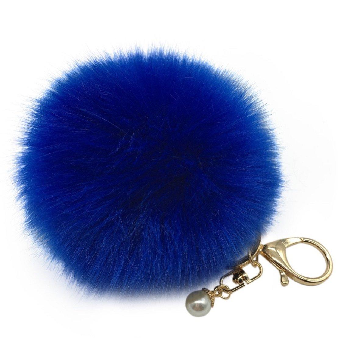 Amiley Fluffy Faux Rabbit Fur Ball Charm Pom Pom Car Keychain Handbag Key Ring (Dark Blue)