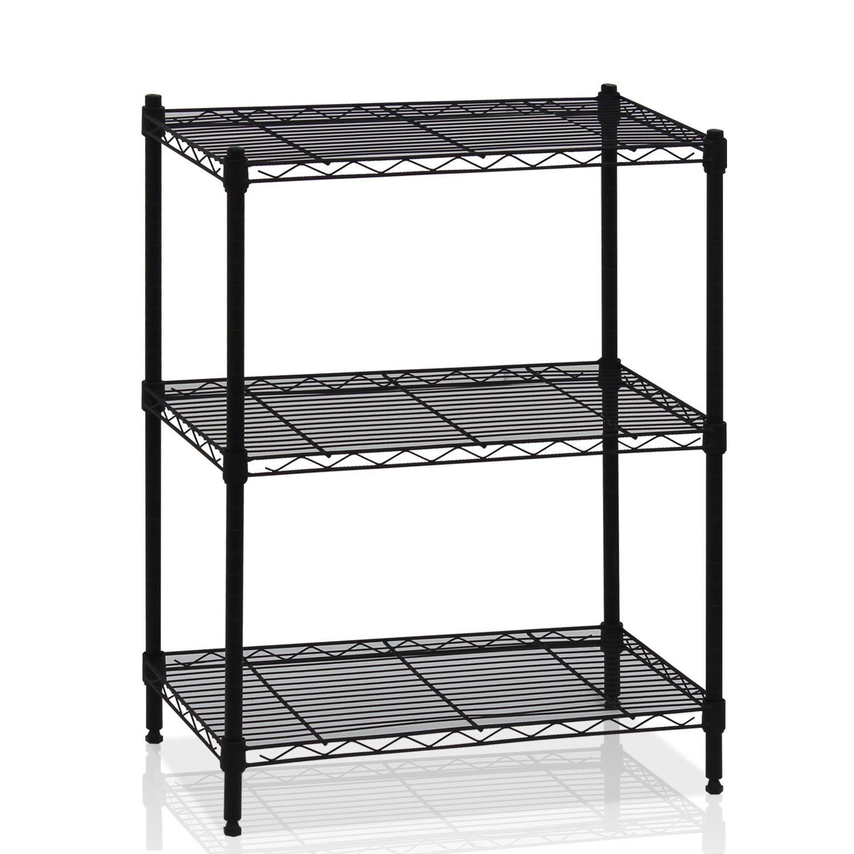 3-Tier Internet\'s Best Wire Shelving Black Heavy Duty Shelf Rack ...