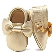 OOSAKU Infant Toddler Baby Soft Sole PU Leather Bowknots Shoes (0-6 Months, Gold)