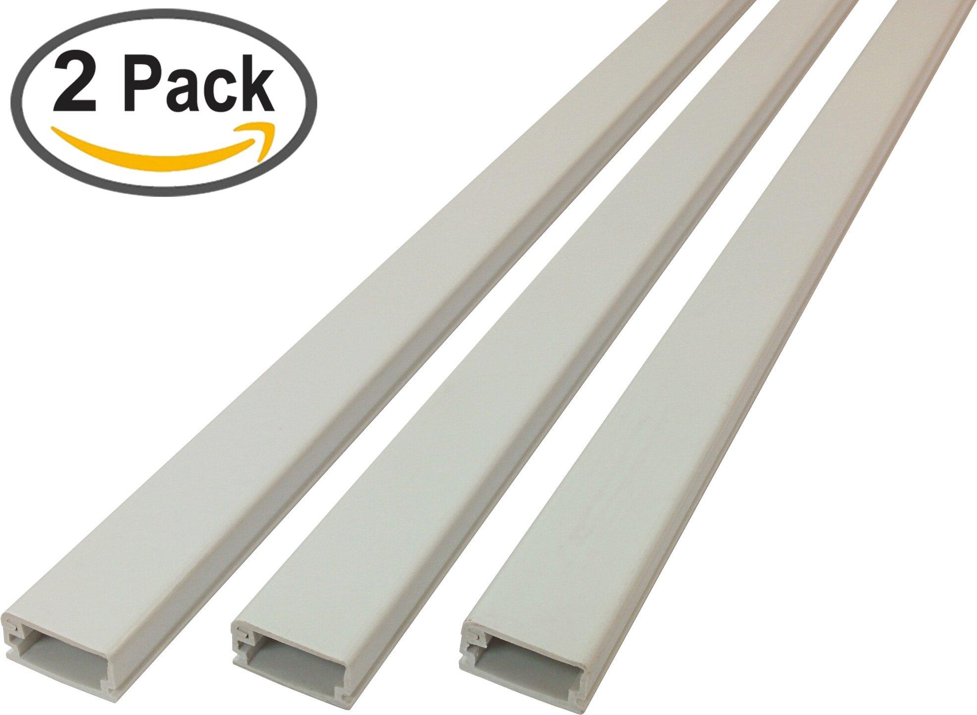 Electriduct Medium Latching Cable Raceway (500 Series) - 5 Feet - Beige   2 Sticks (10 Feet Total)