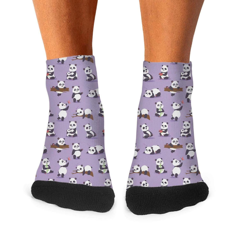 Mens Athletic Low Cut Ankle Sock Purple Bamboo Panda Bear Short Comfort Sock