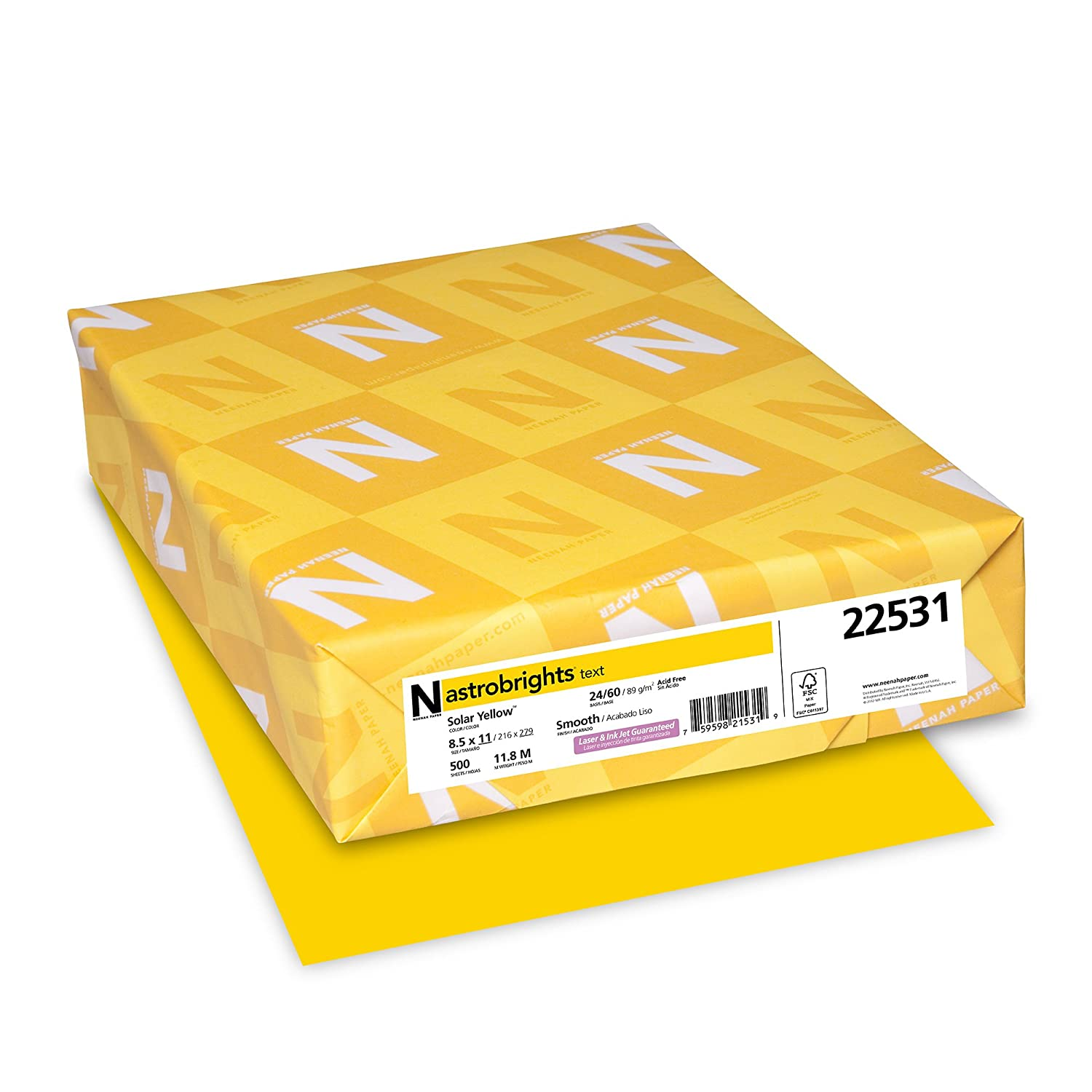 """Wausau Paper 22531 Astrobrights Color Paper, 8.5"""" x 11"""", 24 lb / 89 GSM, Solar Yellow, 500 Sheets"""