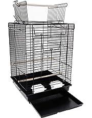 YOUKE Cage à Oiseaux avec Jouets Poignée Cage pour Perruche Calopsitte Inséparable Canari Mandarin, Noir