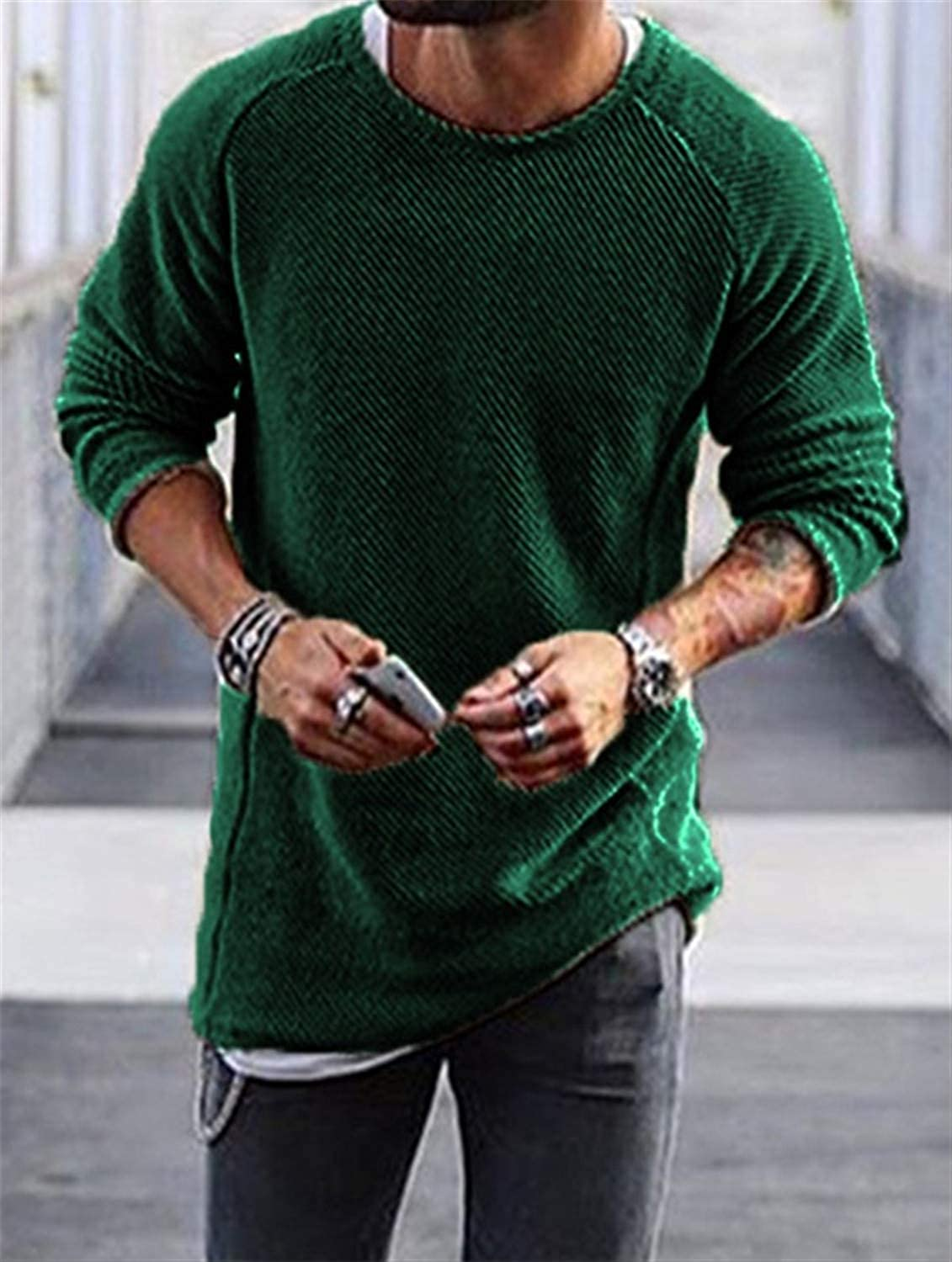 Gomis Knitted Loose Jumper Male Blue Thin Mens Pullover Sweaters Casual Masculino Jersey