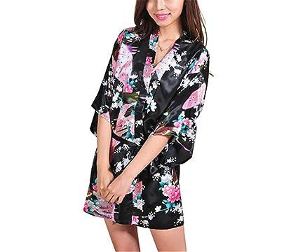 RENXINGLI Women Printed Floral Kimono Dress Gown Chinese Style Silk Satin Robe Nightgown Black S
