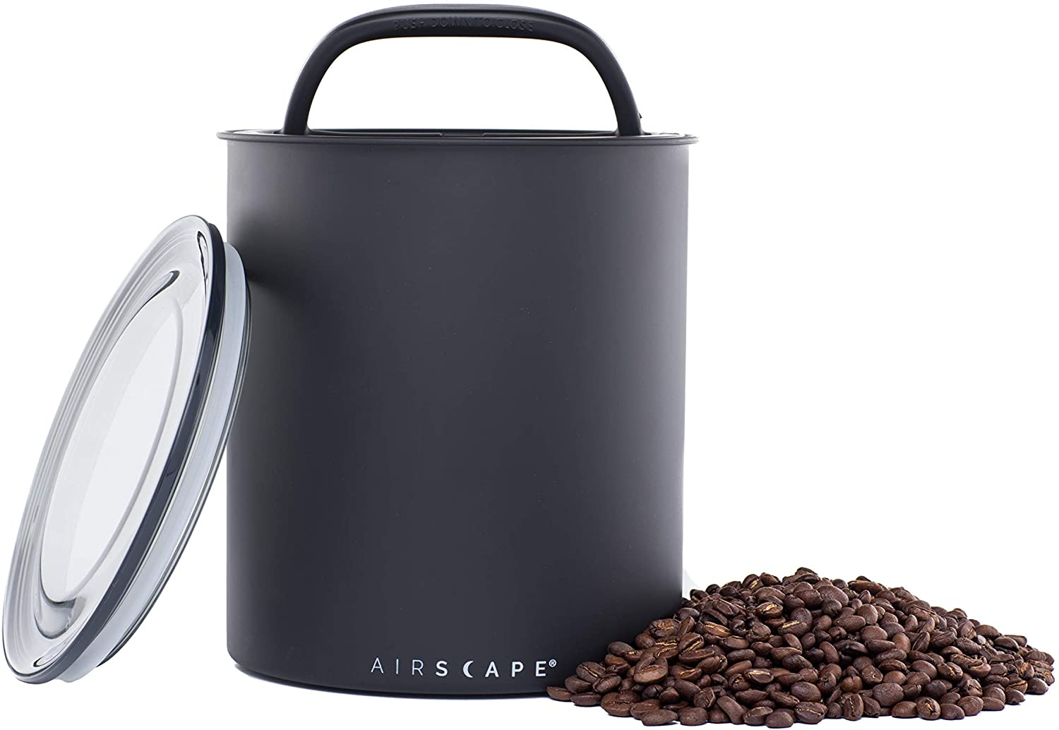 Airscape Coffee Storage Canister (2.5 lb Dry Beans) - Big Kilo Size Canister with Patented CO2 Releasing Airtight Lid Pushes Air Out to Preserve Food Freshness - Matte Finish Food Container - Charcoal