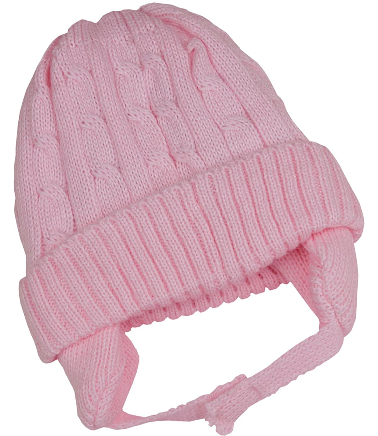 BabyPrem Baby Toddler Hat Cable Knit Ear Flap Winter Clothes Pink Blue White