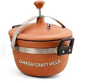 Daksh craft Villa Clay Cooker, 3 L, Standard, Brown Pressure Cookers at amazon