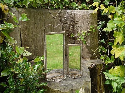 Furniture Checklist Juego de 2 Espejos de jardín para Colgar en la Pared con Forma de corazón: Amazon.es: Jardín