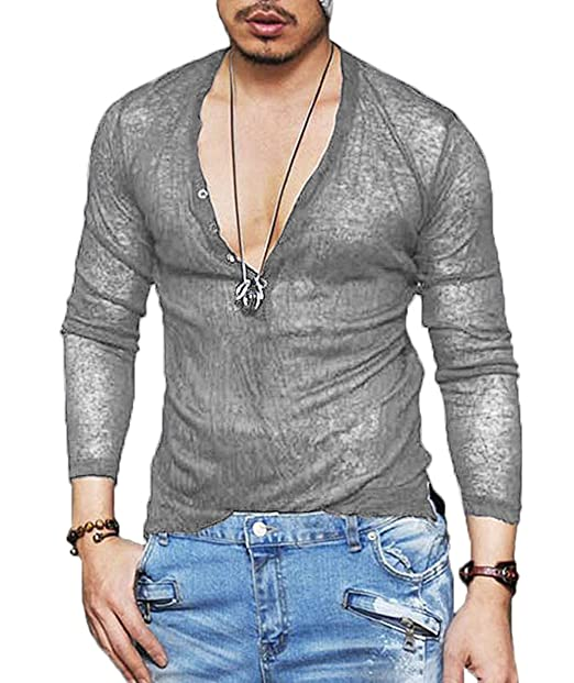 fdb4817b3498d COOFANDY Men s Sexy See Through T Shirt Mesh Henley Shirt Deep V Neck  Undershirts Long Sleeve