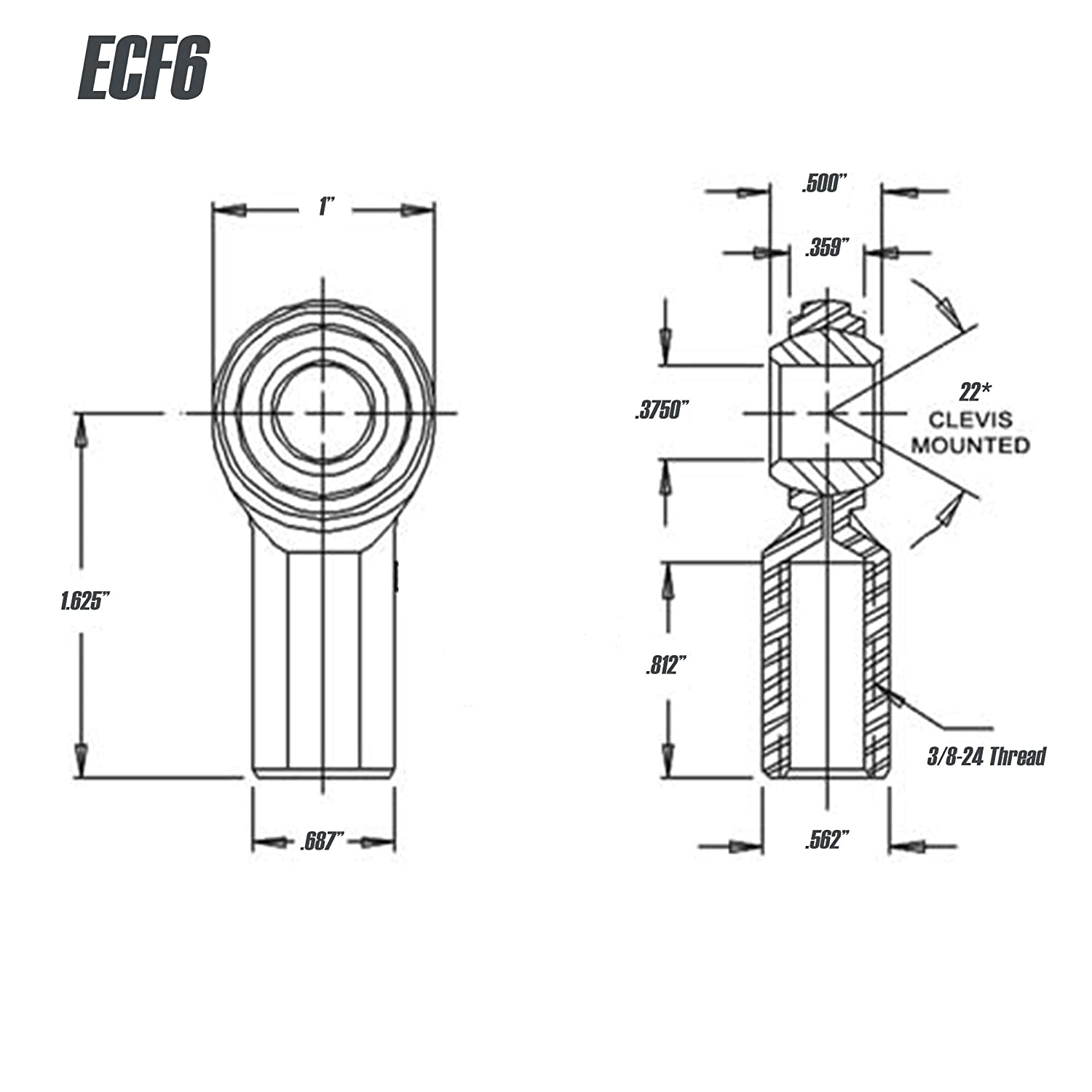 Rod End 3//8 x 3//8-24 ECF6 Female Economy Right Hand Rod End Bearing with Jam Nut Included Heim Joint Rod End Direct