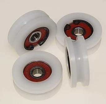 Lot de 4 roues de poulie en nylon avec rainure ronde de 6 mm de diam/ètre 45 mm de diam/ètre 10 mm de roulement 50 kg de capacit/é usin/é avec pr/écision dans lUE 45-6-10
