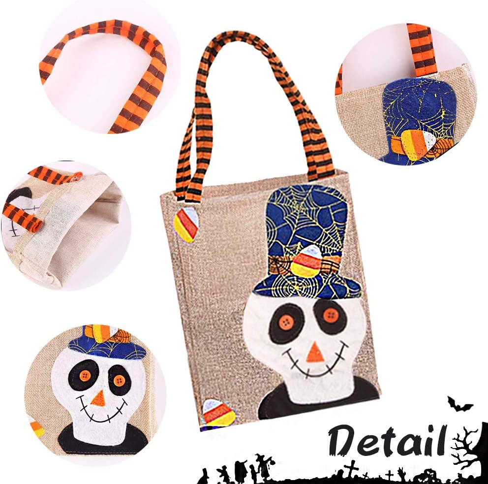 Halloween Non-Woven Bags Trick or Treat Bags Party Gift Goodie Bags Pumpkin Candy Bags with Handles for Halloween Parties Halloween Tote Bags 4 Pack, 4 Styles