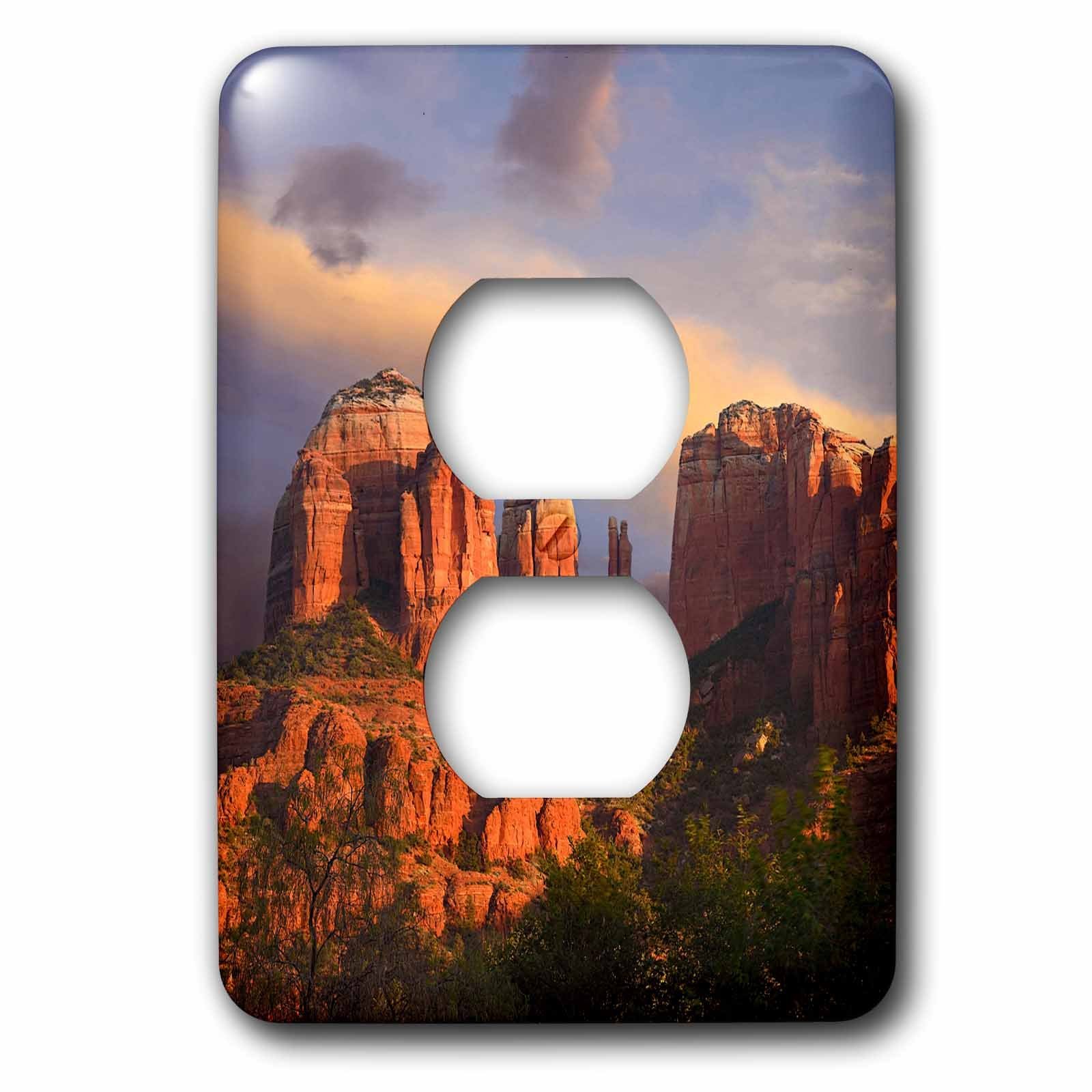 3dRose Danita Delimont - Deserts - Cathedral Rock near Sedona, Arizona, USA - Light Switch Covers - 2 plug outlet cover (lsp_258771_6)
