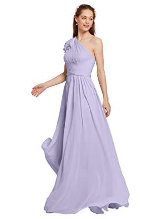 AWEI Lilac Purple Bridesmaid Dress Long Chiffon Maxi Wedding Formal Party Evening Prom Dress 2018 for