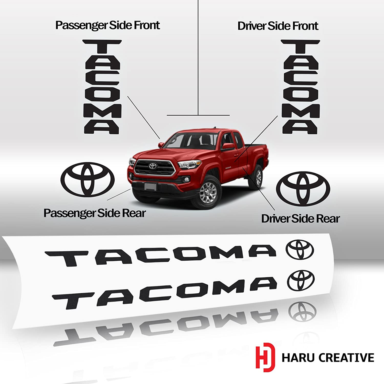 Toyota Tacoma 2016 2017 2018 Door Sill Protector Letter Overlay VInyl Decal - Matte Black Loyo Four Door Set Haru Creative