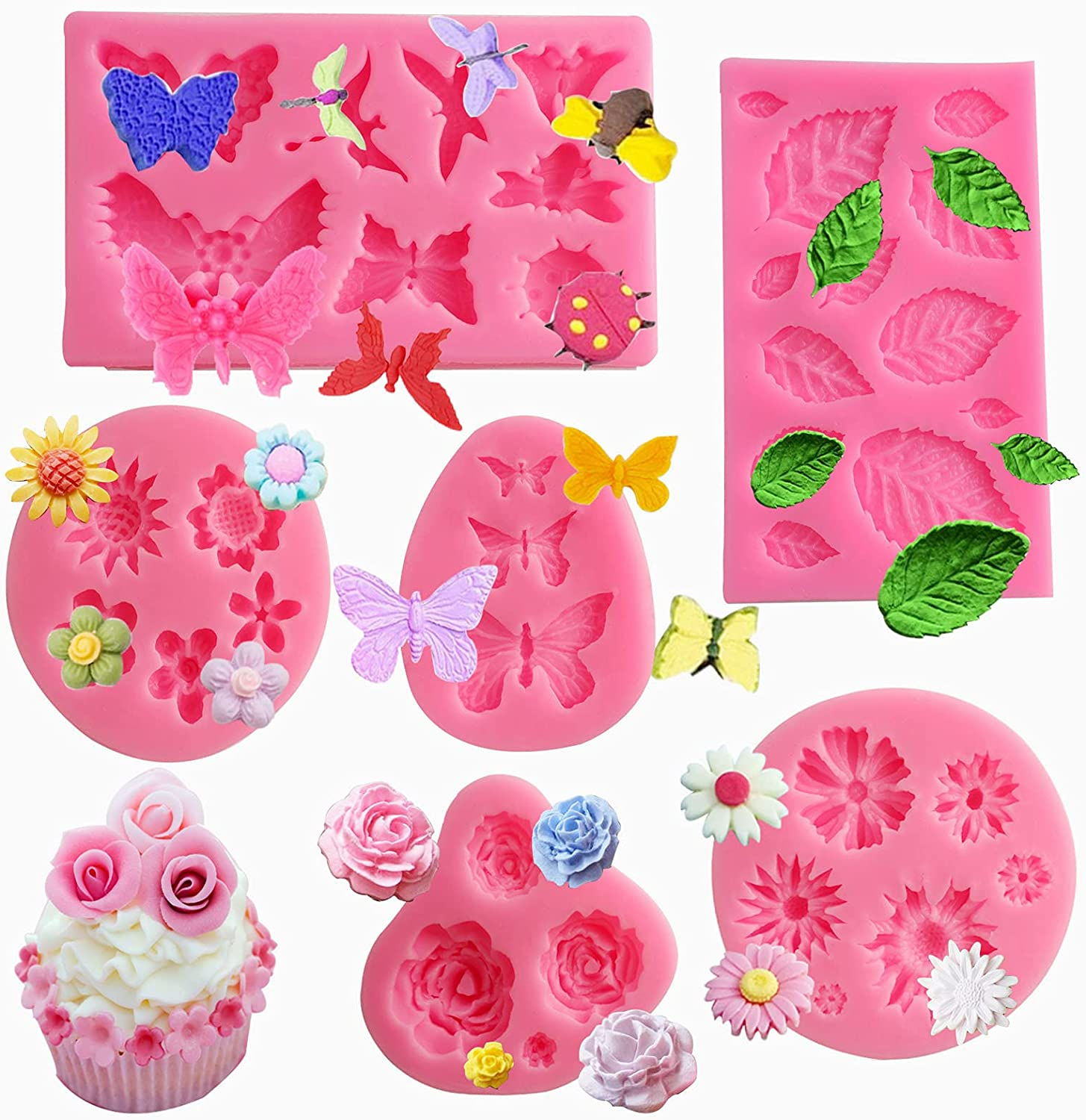 Silicone Mold Flower Silicone Cake Mold,6 Piece,Rose Silicone Mold,Chocolate Mold,Flower Fondant Mold Leaf Mold Silicone for Cupcake, Chocolate,Jelly,Mini Muffins,and Candy Making